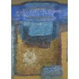 Samiran Chowdhury, Indian, (b. 1963), Untitled, Blue abstract, acrylic on paper, glazed and