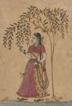 Girl holding a Wine Cup and Bottle standing under a Tree, North Deccan, possibly Maratha, India,
