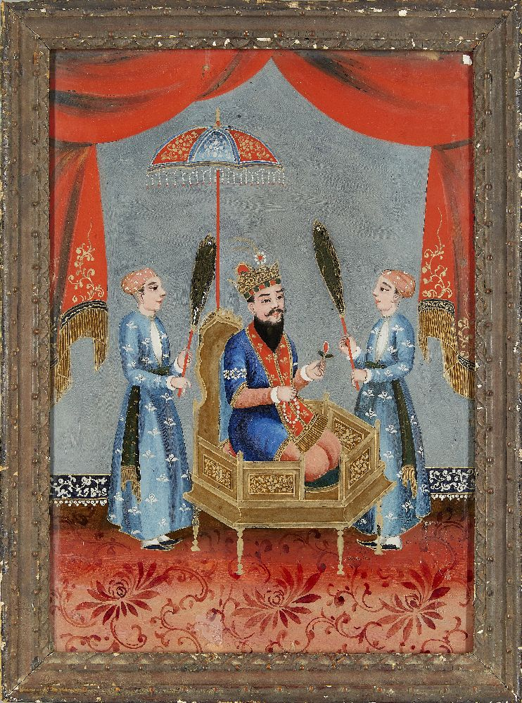 A group of four reverse glass paintings, Indian or China for the Indian market, 19th century, oil on - Image 4 of 8