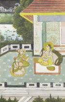 Two scenes of a princess on a terrace, Rajasthan, India, early 20th century,