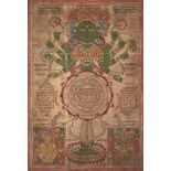 A large Jain tantric painting, late 19th-early 20th century, opaque pigment and lacquer on cloth,