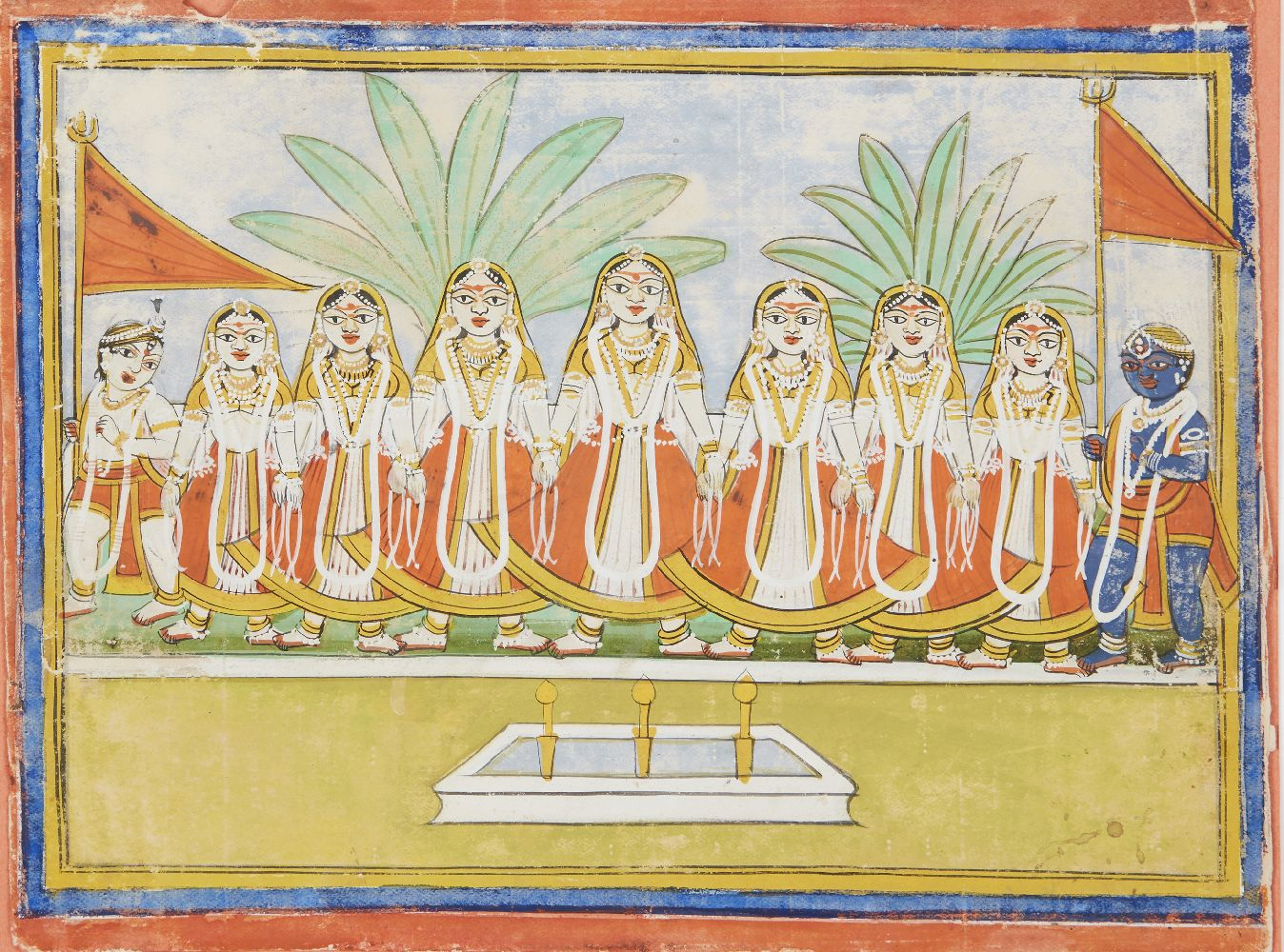 A Jain depiction of Krishna and the Gopis, Rajasthan, 19th century, opaque pigments on paper, 17.5 x