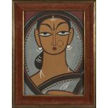 Jamini Roy (Indian, 1887-1972), Untitled, Woman in Grey, tempera on paper laid on board, signed in