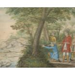 A hunting scene, Company School, India, mid- to late-19th century, opaque pigments on paper