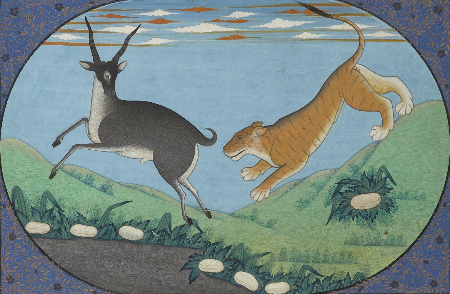 A tiger hunting an antelope, Kangra, Punjab Hills, 20th century, opaque pigments on paper, within an