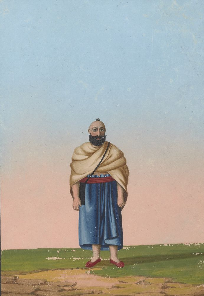 A portrait of a pilgrim, Tanjore, South India, circa 1830, opaque pigments on paper, depicted