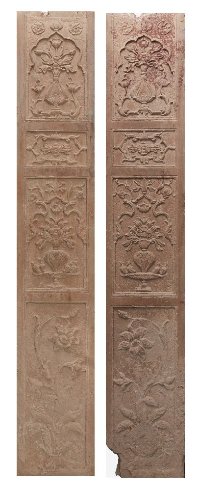 A pair of Mughal carved red sandstone panels, North India, 17th century, of rectangular form, carved