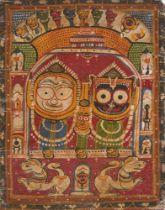 The triad of Jagannath-Subhadra -Balabhadra in the Puri temple, Puri, India, 20th century, Puri,