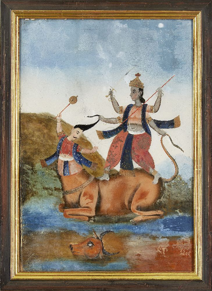 A group of four reverse glass paintings, Indian or China for the Indian market, 19th century, oil on - Image 8 of 8