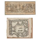 A woodblock print illustration and a page from a manuscript, Rajasthan, 19th century, 10.6 x 26cm,