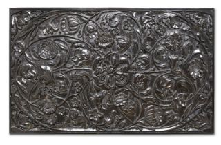 A large carved ebony panel, Batavia or Ceylon for the Dutch market, 1680-1720, 58 x 94cm. This fine