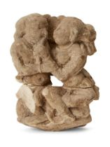A carved sandstone fragment of a couple, possibly Satavahana, India, the woman playfully tugging her