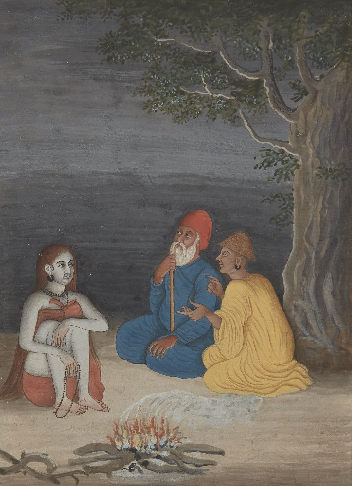 A Sadhu and two dervishes, India, circa 1870, opaque pigments on paper, mounted, glazed and