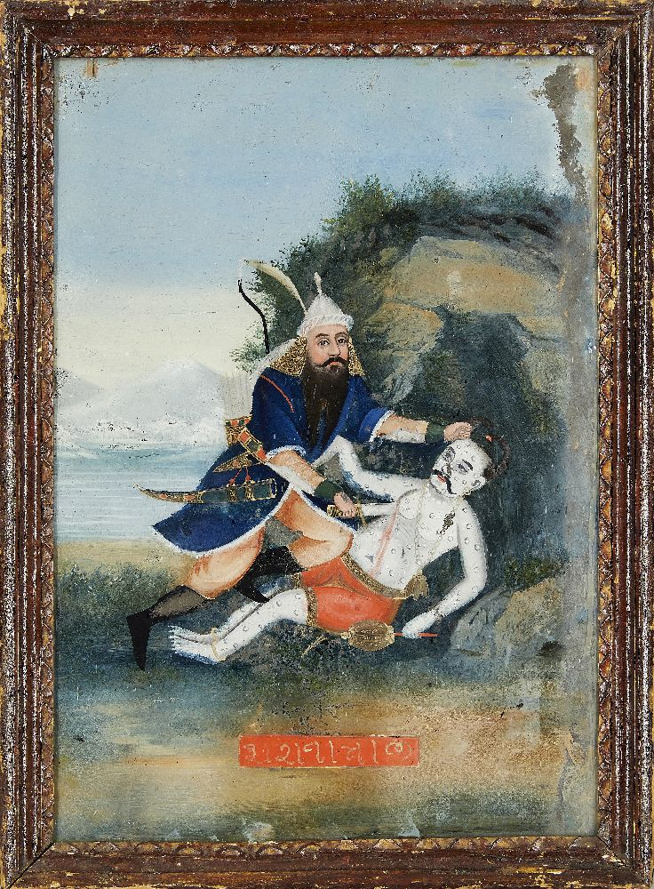 A group of four reverse glass paintings, Indian or China for the Indian market, 19th century, oil on - Image 2 of 8
