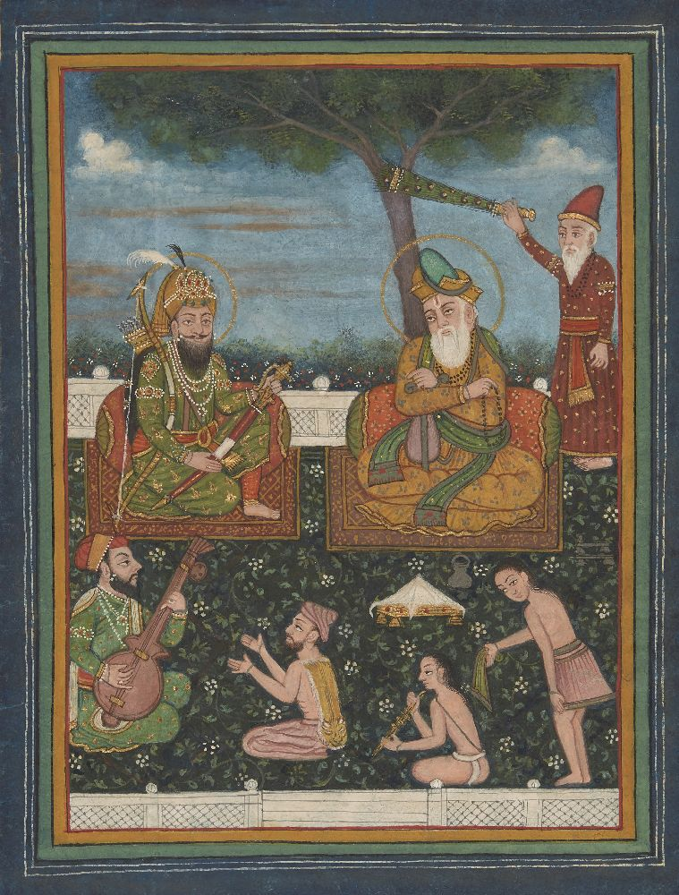 A large folio from a dispersed Janamsakhi manuscript depicting a fictitious meeting between Guru - Image 2 of 3