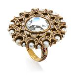 A gold mirror ring, India, 19th century, of floral shape inlaid with mirror and diamonds, the
