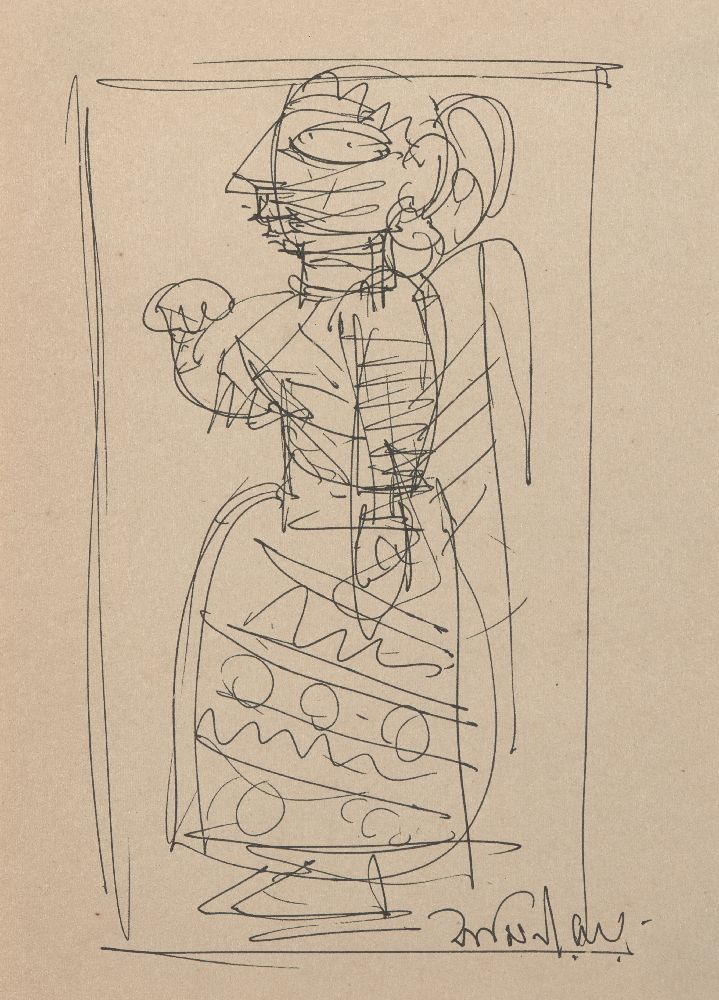 Jamini Roy (Indian, 1887-1972), Untitled sketch, pen on paper, signed lower right, mounted, glazed