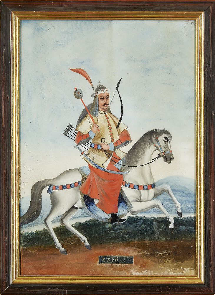 A group of four reverse glass paintings, Indian or China for the Indian market, 19th century, oil on - Image 6 of 8