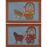 Two small Hindu illustrations of a statue of Shiva being driven in a chariot, Rajasthan. early