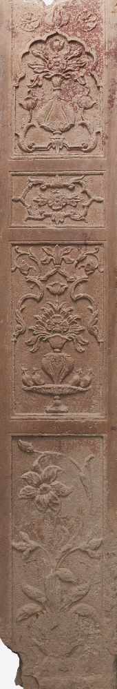 A pair of Mughal carved red sandstone panels, North India, 17th century, of rectangular form, carved - Image 3 of 3