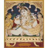An icon of the child Krishna, Tanjore, South India, 19th century, canvas mounted on wood, set with