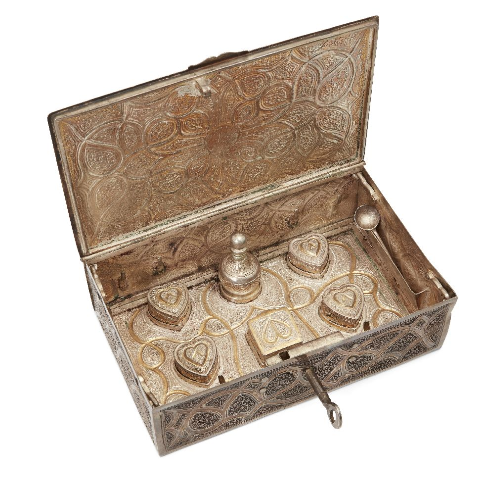 A lidded cosmetics box in gilded silver, Kashmir, North India, circa 1900, of rectangular form, - Image 2 of 2