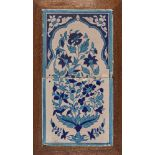 A Multan pottery tile panel with floral decoration, North India, early 19th century, formed of two