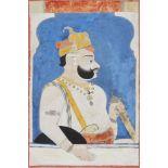 A portrait of ruler Raj Singh of Sawar, Sawar, circa 1730, opaque pigments on paper, shown at a
