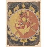 Lovers in the Mirror, Orissa, 18th century, opaque watercolour on cotton, the figures depicted in an