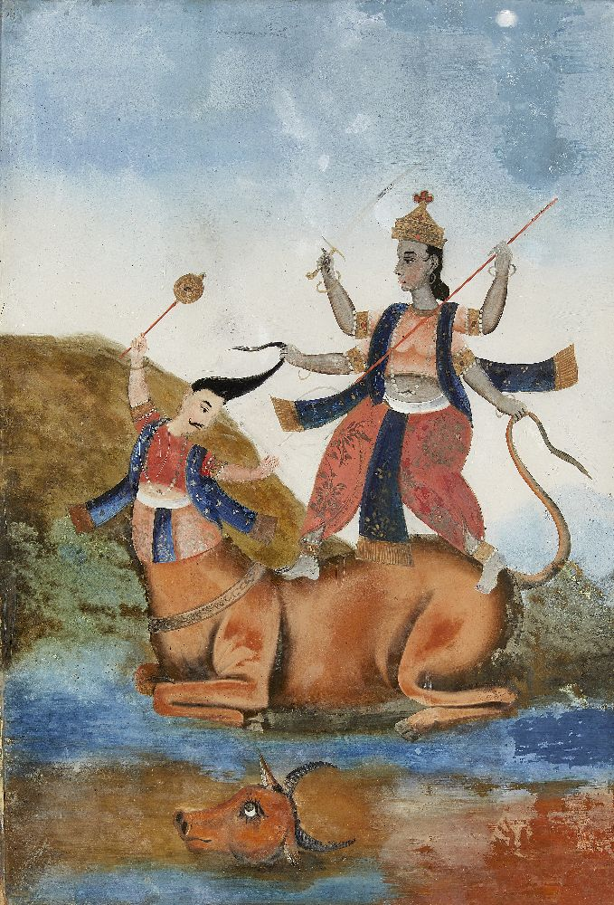 A group of four reverse glass paintings, Indian or China for the Indian market, 19th century, oil on - Image 7 of 8