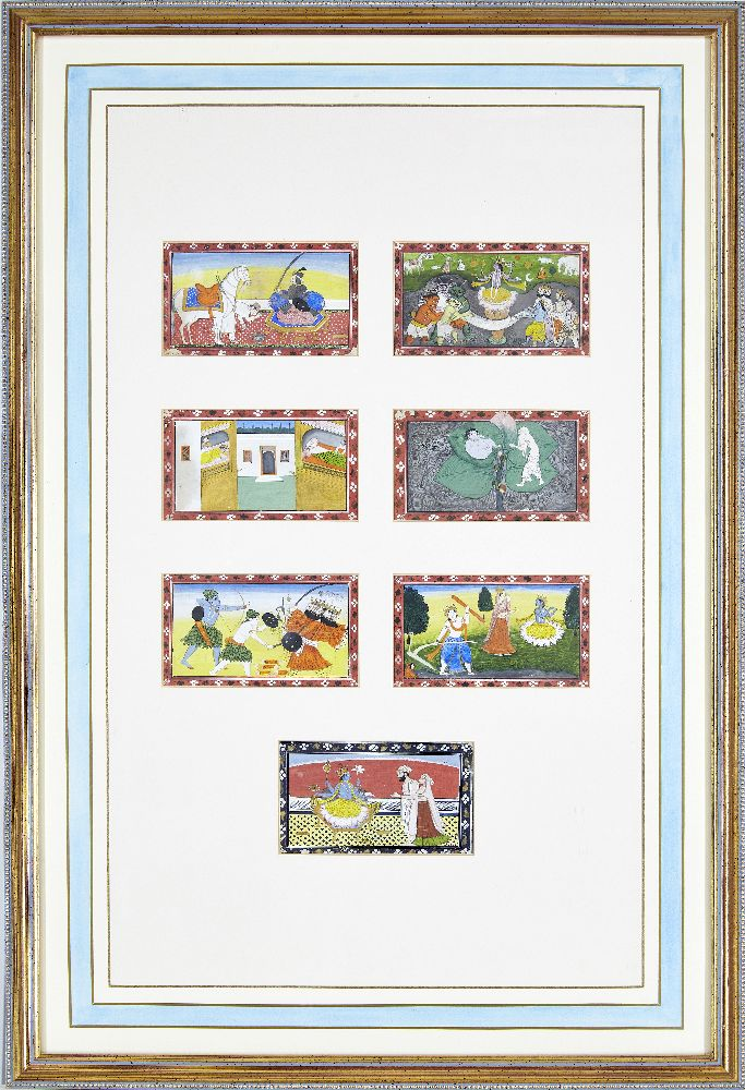 A series of twenty-one illustrations from a small manuscript, Kangra, India, circa 1800, opaque - Image 2 of 6