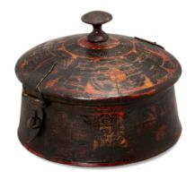 A painted and lacquered wood vessel, North India, late 18th century, of circular form, with slightly