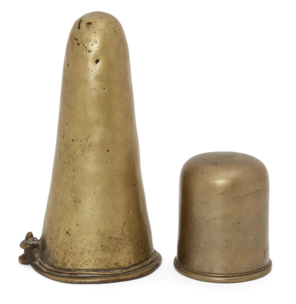 Two brass lingas, India, 19th century, the larger one of conical form with a small model of a
