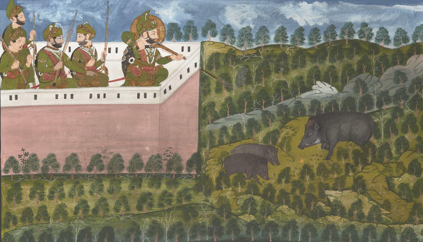 Maharaja Jawan Singh and Sardar Singh hunting wild boar with attendants, Mewar, Rajasthan, North
