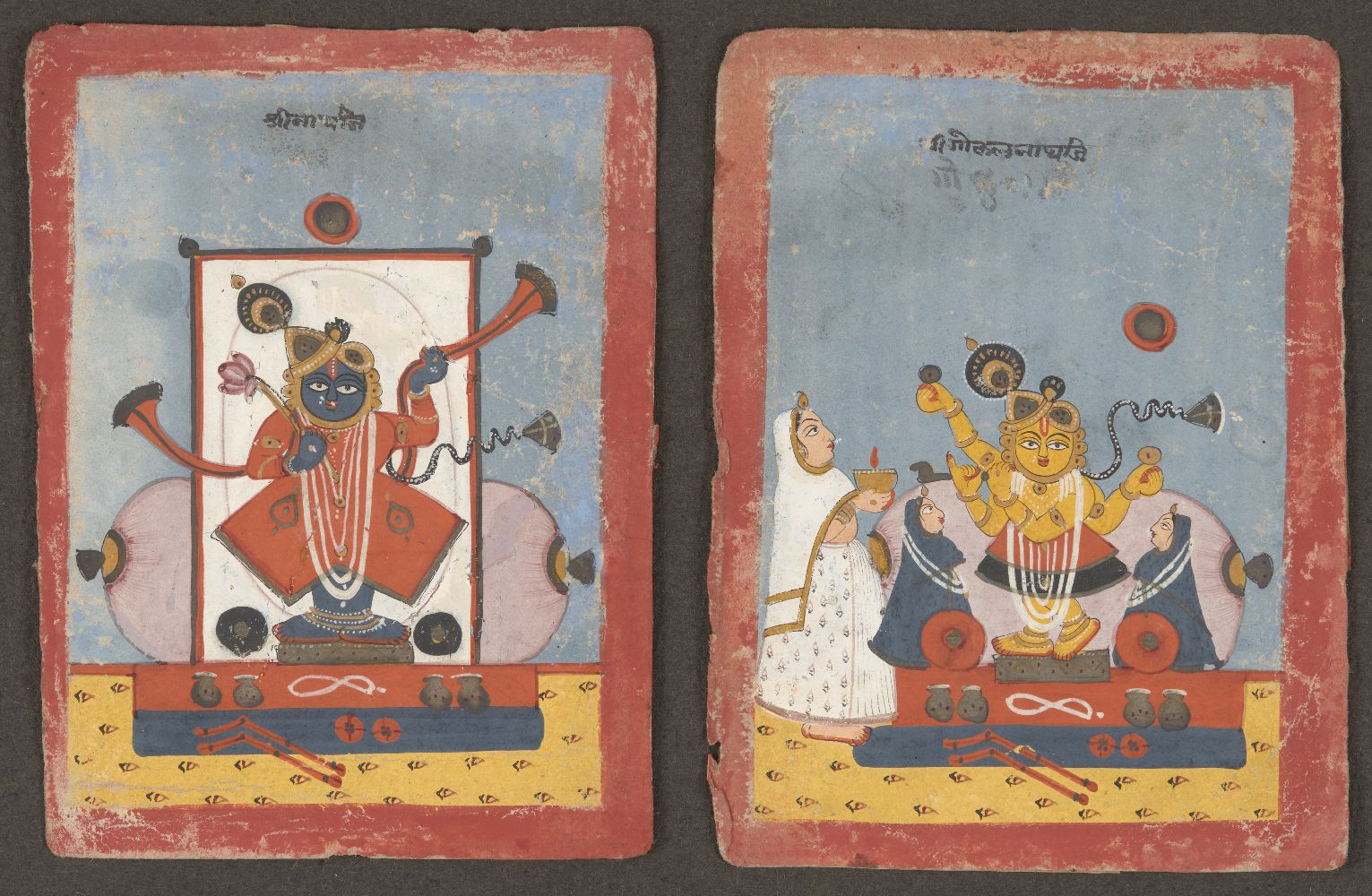 Srinathji in the guise of Shiva and Srinathji, Central India, circa 1700, opaque pigment on paper,