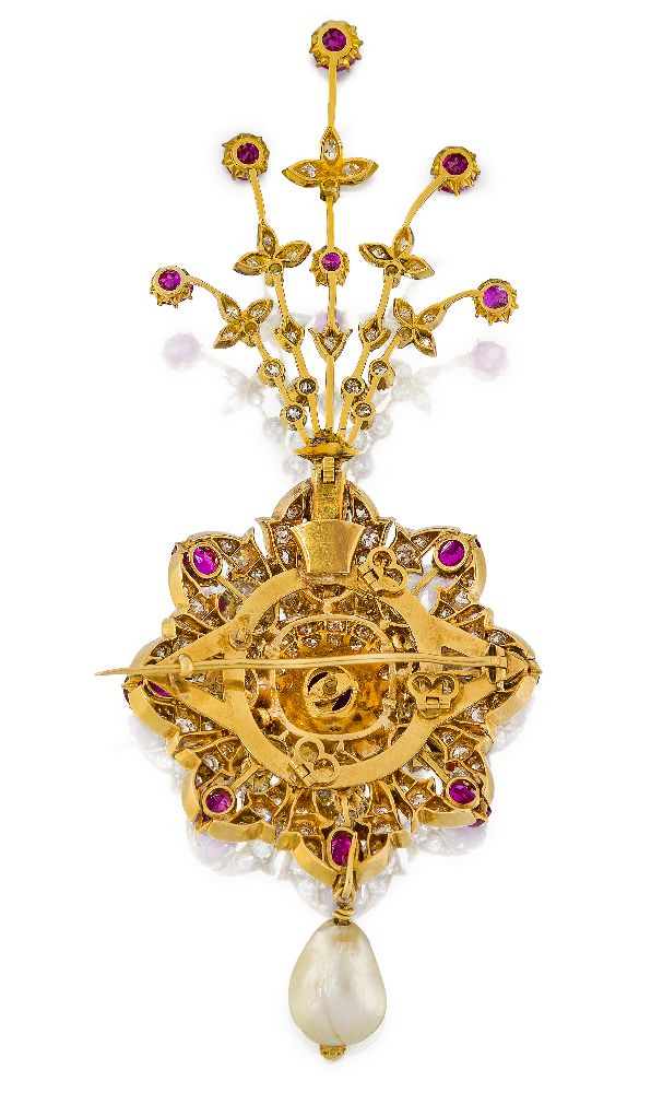 A diamond- and ruby-set gold sarpech formerly the property of the Maharaja of Patiala, Bhupinder - Image 2 of 3