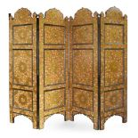 A large floral lacquered screen, Kashmir, North India, mid-19th century, in four sections with