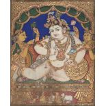 An icon of the child Krishna, Tanjore, South India, late 19th-early 20th century, opaque pigments,