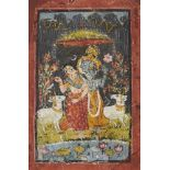 Krishna and Radha dancing in the rain with cows, Rajasthan, circa 1800, opaque pigments on paper,