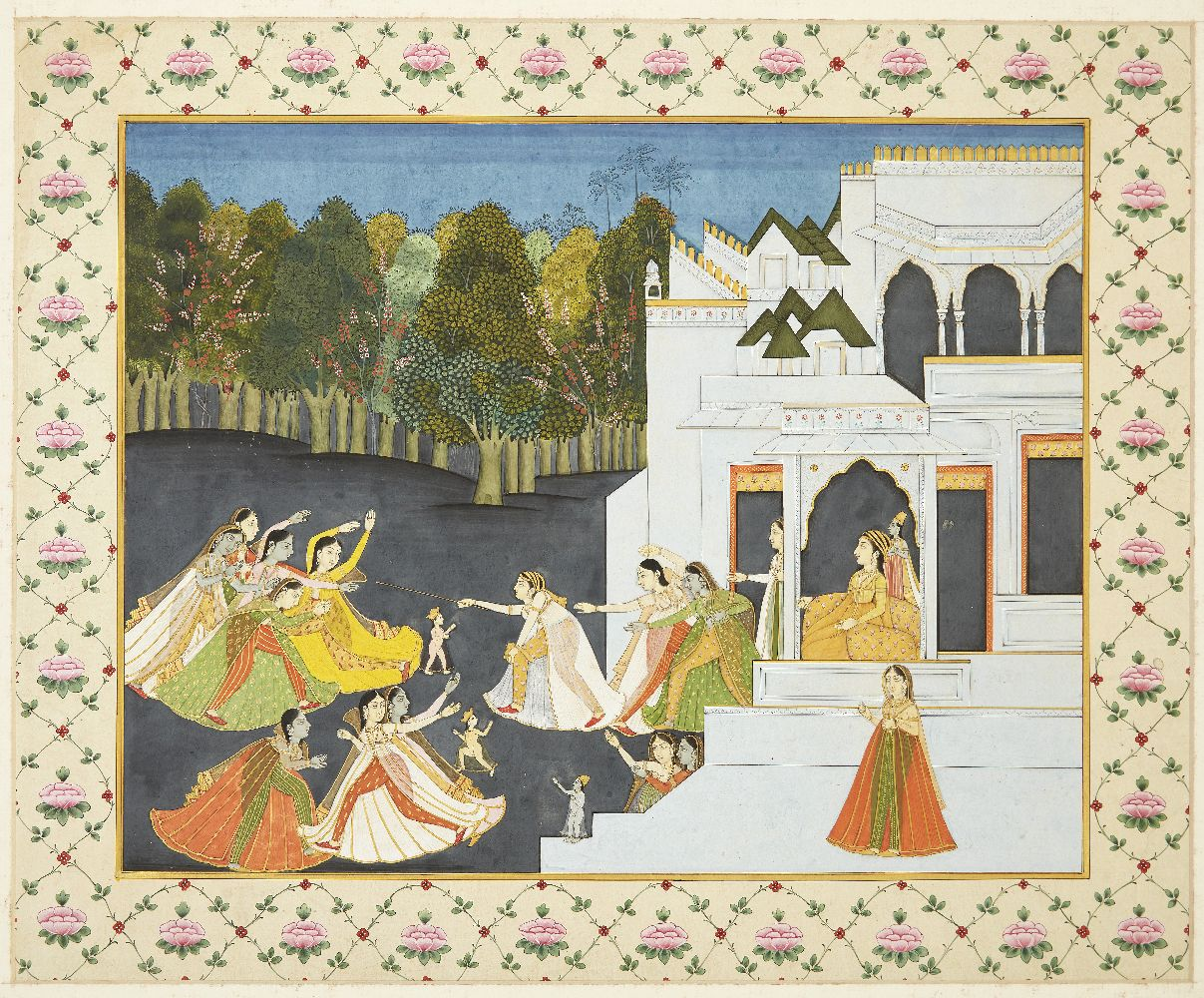 Women fleeing the palace, India, early 20th century, opaque pigments on paper heightened with