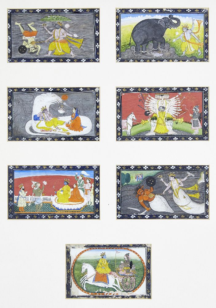 A series of twenty-one illustrations from a small manuscript, Kangra, India, circa 1800, opaque - Image 3 of 6