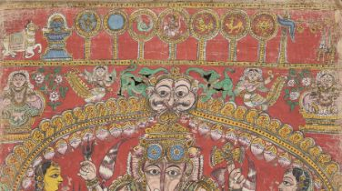 A scroll depicting Markandeya and Bhavana Rishi Purana performed before the Padma Sale, Padmasali