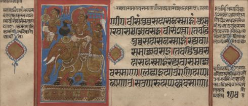Two illustrated folios from Jain manuscripts, North West India, circa 16th century, the first