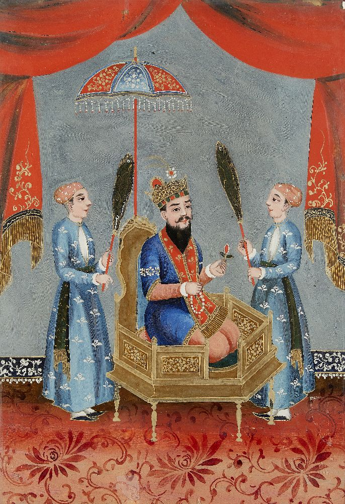 A group of four reverse glass paintings, Indian or China for the Indian market, 19th century, oil on - Image 3 of 8