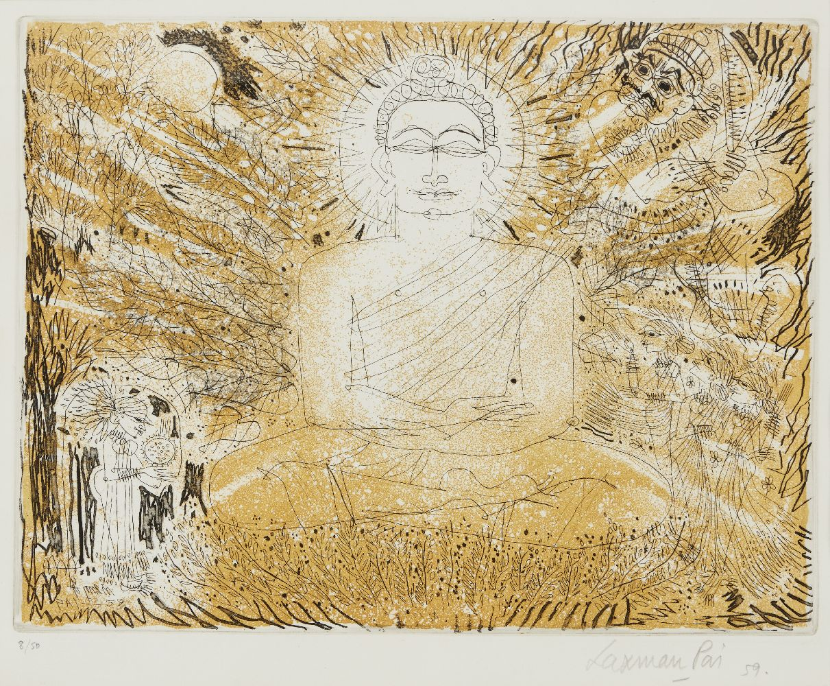 Laxman Pai (b. 1926), Untitled, Buddha, 1959, etching and watercolour, 8/50, signed, dated and