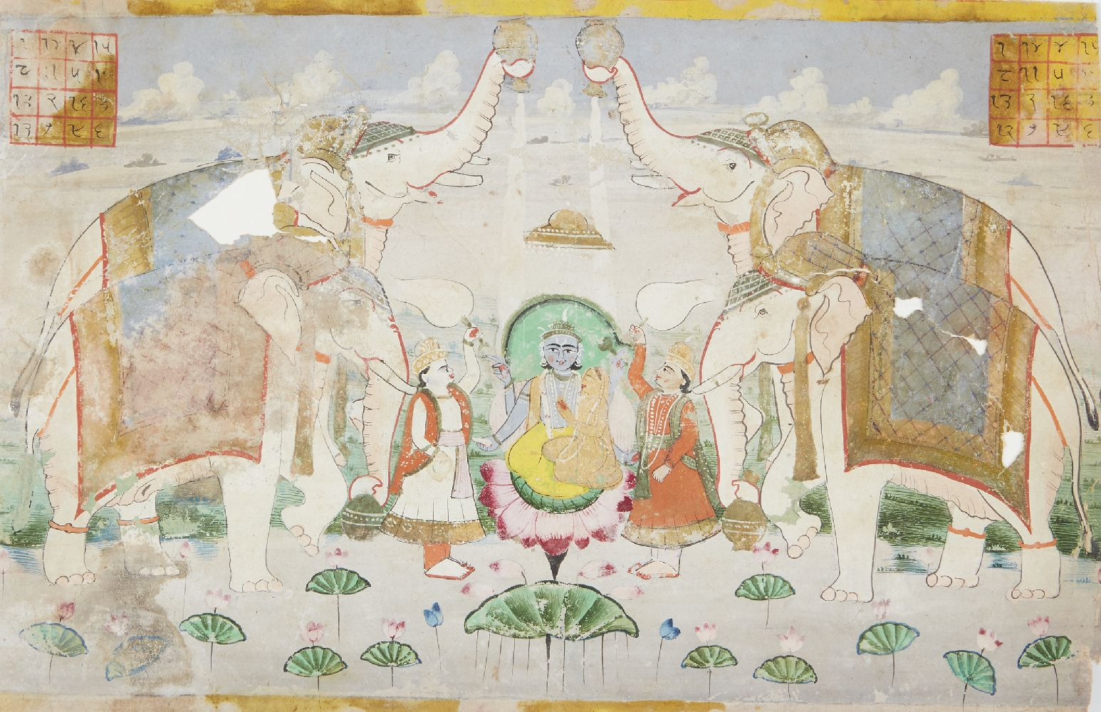 Krishna seated on a lotus flower attended by two priests and elephants, Rajasthan, circa 1820,