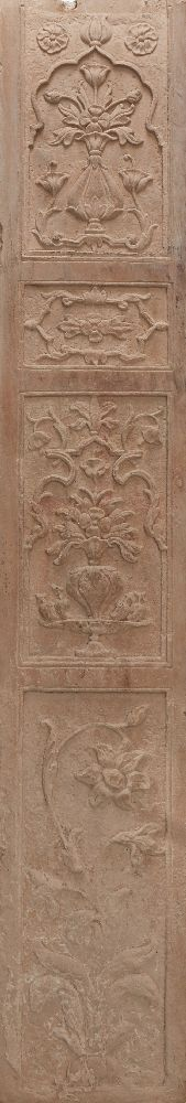 A pair of Mughal carved red sandstone panels, North India, 17th century, of rectangular form, carved - Image 2 of 3