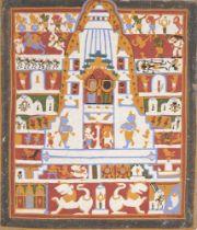 The Jagannath triad in the Puri temple(paicha mathra), Puri, 20th century, unfinished 26.2 x 22.5cm.