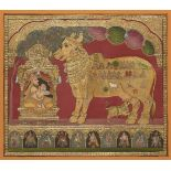 A Tanjore painting of Nandi and a Brahman in a shrine, South India, 20th century, opaque pigments