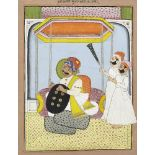 A seated ruler and attendants, Mewar, Punjab, India, circa 1900, opaque pigments heightened with
